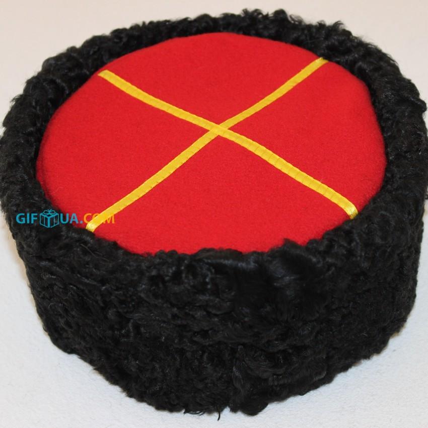 Кубанка высокая натуральный каракуль черный красный верх