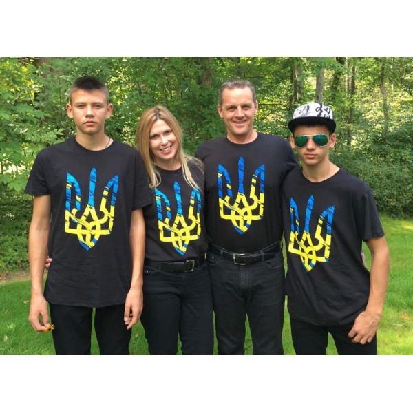 Футболка желто-голубой трезуб / герб Украины унисекс черная