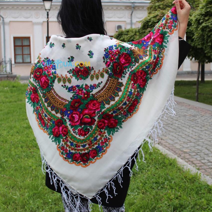 Украинский платок белый 125*125 Панночка
