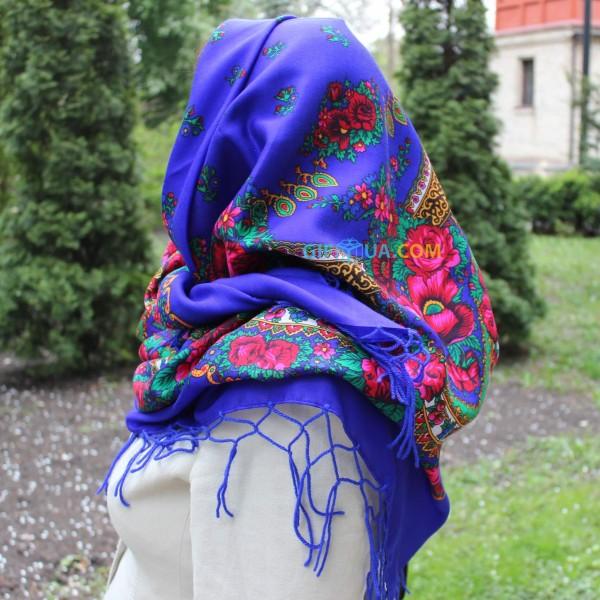 Украинский платок синий 125*125 см Панночка