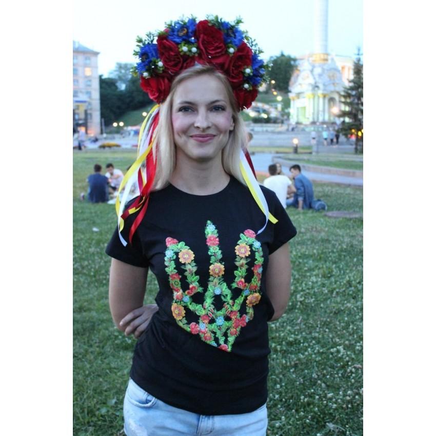 Футболка цветочный трезуб / герб Украины женская черная