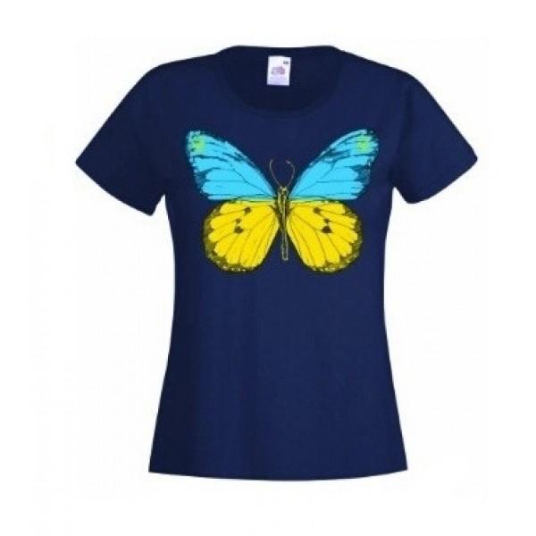 Футболка с бабочкой и мини Гербом / трезубцем Украины женская синяя