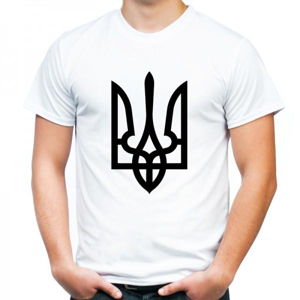 Футболка черный трезуб / герб Украины белая