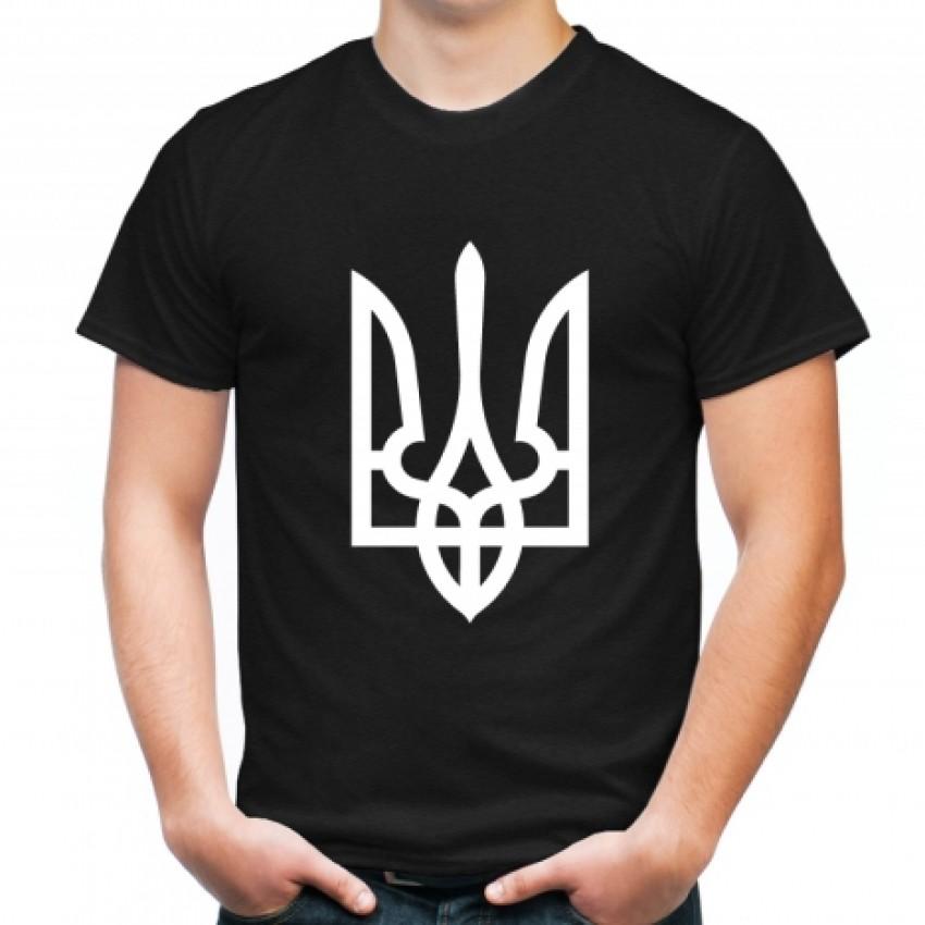 Футболка белый трезуб / герб Украины черная