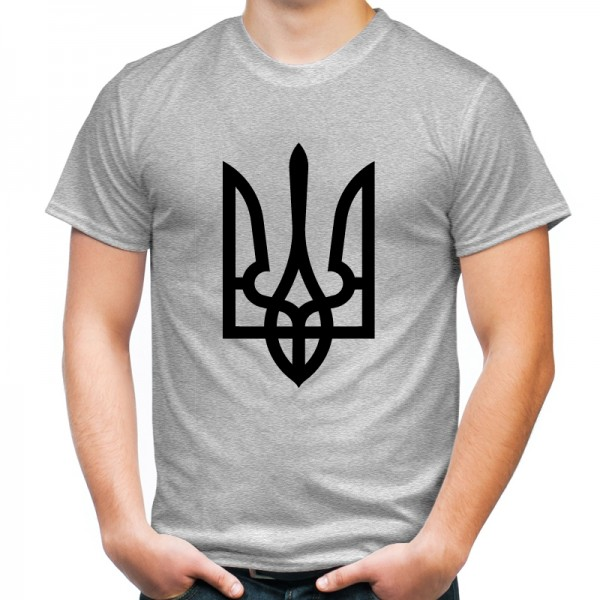 Футболка черный трезуб / герб Украины серая
