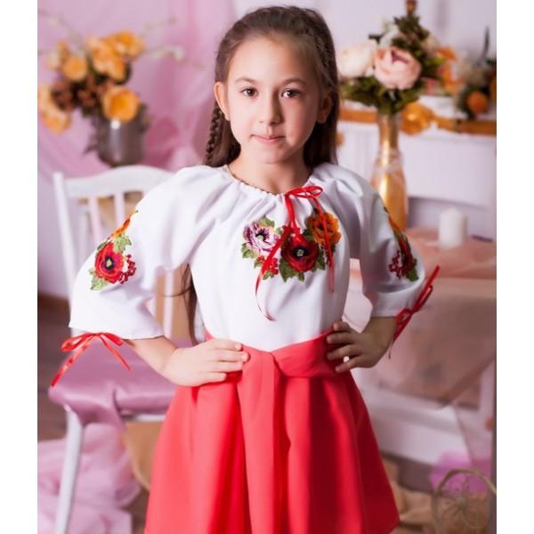 Вышитое платье длядевочки Праздничный цвет, коралл от 5 до 12 лет