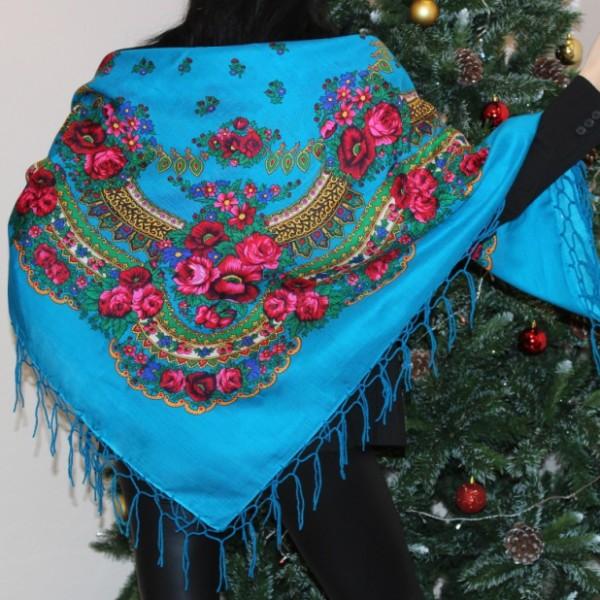 Платок украинский народный голубой