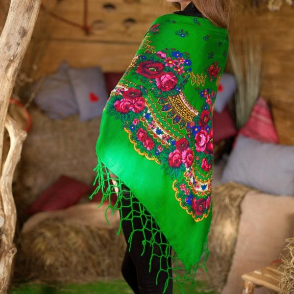 Платок украинский народный зеленый