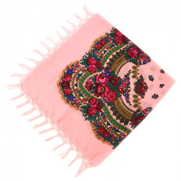 Платок украинский народный нежно-розовый