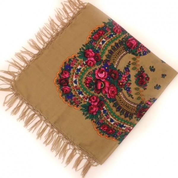 Украинский платок национальный мокко 125*125 Панночка